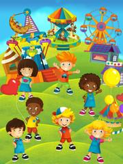 Kids having fun on the playground - illustration for the children