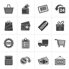 Black shopping and retail icons - vector icon set