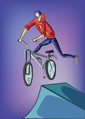 Teenager doing bike tricks on ramps