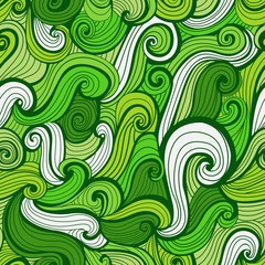 Green Doodle Waves Seamless Pattern
