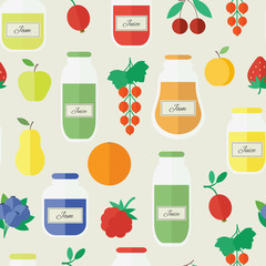 Jam and juice seamless pattern in flat style