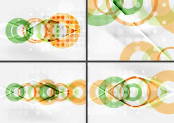 Set of circle shape design abstract backgrounds with light