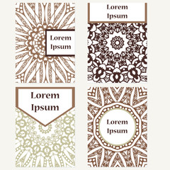 Cards design set. Mandala background. Decorative elements for poster, invitation. Oriental templates with place for text