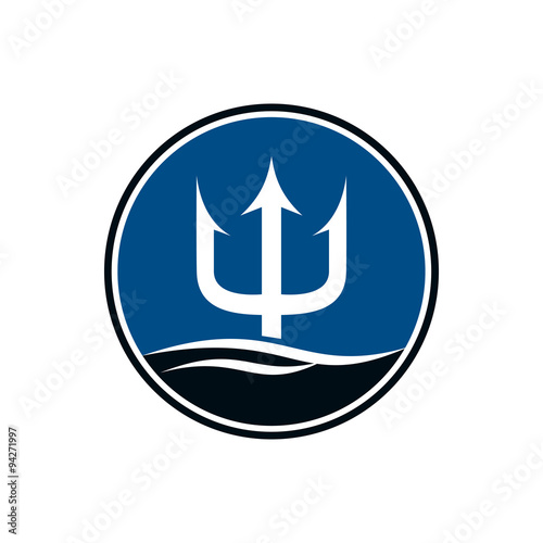 quotcircle trident poseidon spear logo iconquot stock image and
