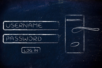 unsername and password login dialog with door lock and handle
