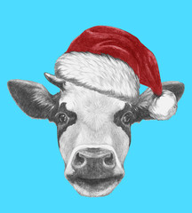 Portrait of Cow with Santa Hat and sunglasses. Hand drawn illustration.