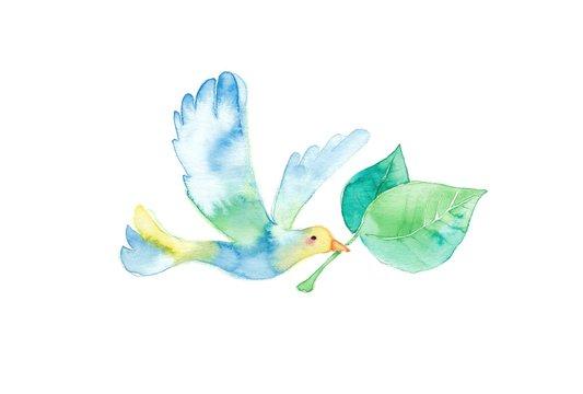 小鳥と葉っぱ