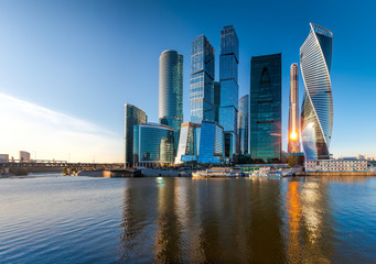Photo sur Plexiglas Moscou Moscow City - view of skyscrapers Moscow International Business Center.