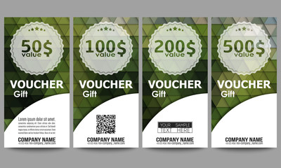 Set of modern gift voucher templates. Polygonal design vector