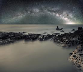 Long exposure sea landscape with Milky Way galaxy in sky