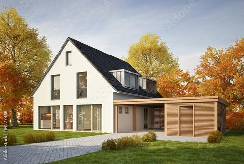 haus mit carport im herbst stockfotos und lizenzfreie bilder auf bild 94277368. Black Bedroom Furniture Sets. Home Design Ideas