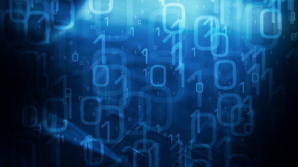 Technology abstract blue background, animated binary code