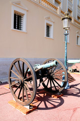 Historic medieval cannon near Monaco prince palace.