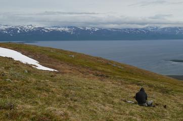 Man sitting in subarctic tundra overlooking lake Torneträsk