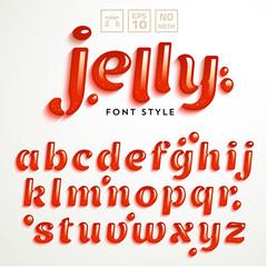 Vector latin alphabet made of strawberry jam. Font style.