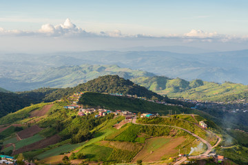 Beautiful landscape on mountain with clouds in sky. Phu tub Berk hill in Thailand.