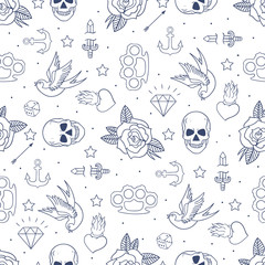 Old school tattoo seamless pattern