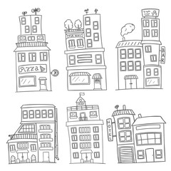 set of six black and white vector houses
