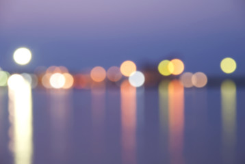Colorful bokeh on twilight background