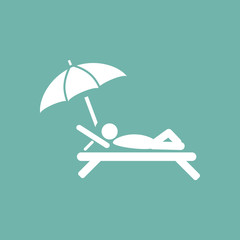 Man lying at beach chair icon