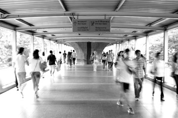Moving blur people walking - black and white effect