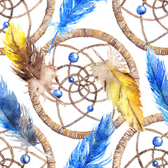 Watercolor ethnic tribal hand made yellow blue feather dream catcher seamless pattern texture background