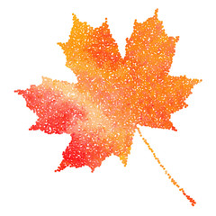 Maple leaf. Autumn fall. Dotwork illustration.