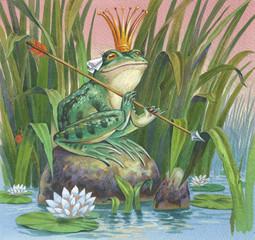 Царевна-Лягушка держит стрелу