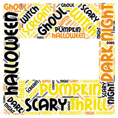 Halloween Frame Word Tag Cloud Box Shape