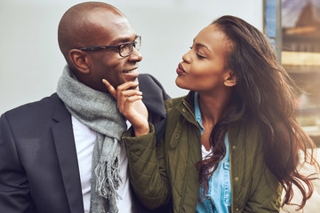 Flirting young African American woman Wall mural