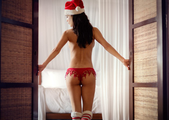 Back of Santa Claus helper