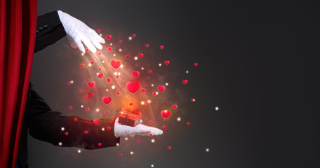 Wall Mural - Magician hand with sparkling surprise