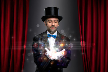 Wall Mural - Magician with magic on palm