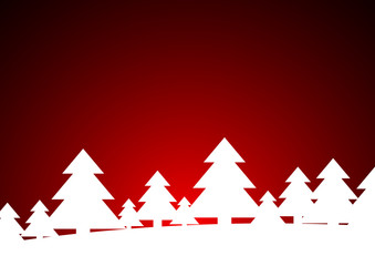 Vector : White christmas trees on red background