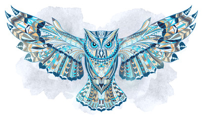 Tuinposter Uilen cartoon Patterned owl on the grunge watercolor background. African / indian / totem / tattoo design. It may be used for design of a t-shirt, bag, postcard, a poster and so on.