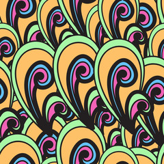 Seamless vector summer pattern. Bright hand drown background. Ab