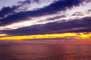 Beautiful sky over ocean during sunrise