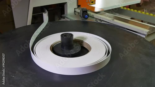 Modern Automatic Edge Banding Machine at the woodworking and