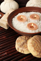 Beautiful spa composition on table close up