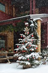 Albero Di Natale Con Neve Che Scende Obi Albero Di Natale Boston
