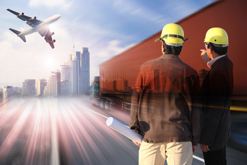 two engineer on site with  industry container trains on railways track cargo plane flying with  transportation and  logistic business industry ,import export,shipping