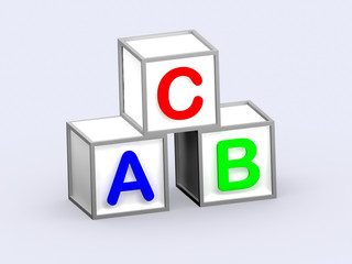 ABC cube 3D in white background
