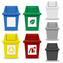 Set of Trash bin with symbol in flat icon style