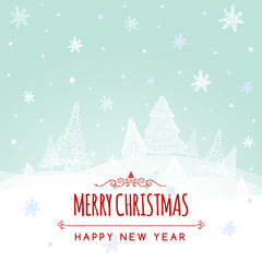 Christmas retro greeting card and background with hand-drawn