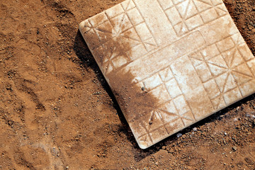 above view of first base and infield dirt surrounding