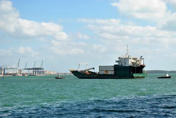 Cargo Ship in Miami Harbor