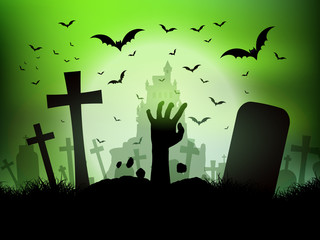 Fototapete - Halloween landscape with zombie hand in graveyard