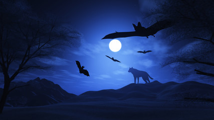 Spooky landscape with wolf and bats