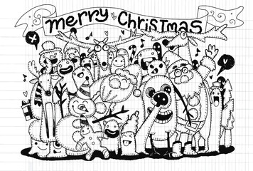 Hand drawing of Doodle Christmas background