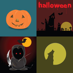 Cute Devil red eyes in Halloween night and design element